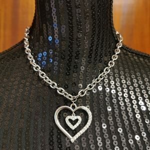 Guess Silver Toned Bling Double Heart Necklace